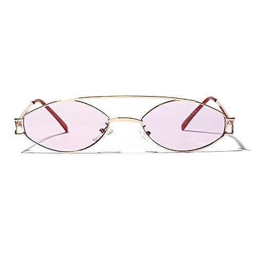 Siyse Gafas de Sol Retro Oval Literario Acero Inoxidable Gafas de Metal Lente de Color Uv400-C