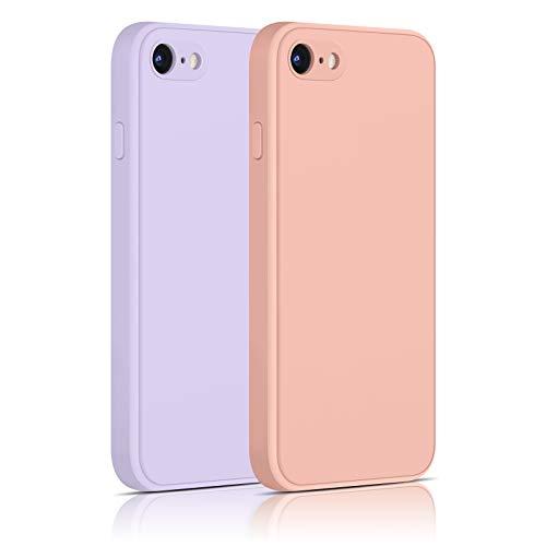 """Yisica[2 Pack]Funda de Silicona Compatible con iPhone SE 2020 / iPhone 8 / iPhone 7, Funda de Silicona con [Forro de Microfibra Suave] Protección Completa, 4.7"""""""