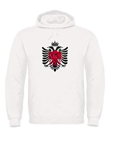 TsForYou Sweatshirt Rundhals Albanien, A000089, Weiß, A000089 Small