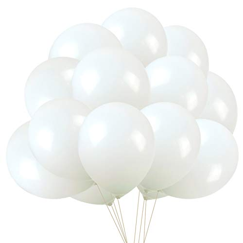 White Balloons Latex Party Balloons, 50 pack 12 Inches Helium balloons for Wedding Birthday Party Decorations