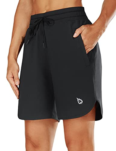 "BALEAF Women's 7"" Athletic Long Running Shorts Zipper Pocket Drawstring for Gym Hiking Sports Black Size L"