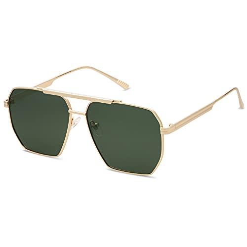 SOJOS Classic Aviator Polarized Sunglasses for Women Men Vintage Shades UV400 Large Metal Sun Glasses Centuries SJ1161 with Gold/Green Lens
