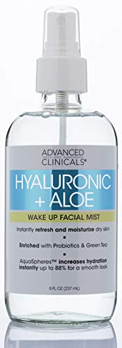 Hyaluronic + Aloe Skin Refreshing, Hydrating Face Mist Spray Lightweight, Non-Greasy Facial Toner with Premium Hyaluronic Acid and Natural Extracts for Instant Hydration by Advanced Clinicals, 8 oz.