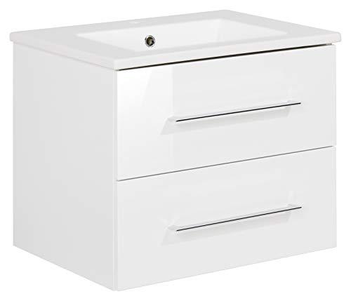 FACKELMANN Waschtischunterschrank inkl. Keramikbecken B.PERFEKT/Soft-Close-System/Maße (B x H x T): ca. 63 x 51 x 48 cm/Waschbeckenunterschrank & Waschtisch/Schrank: Weiß/Becken: Weiß