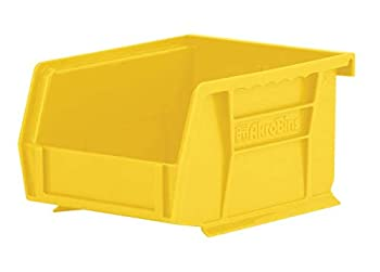 Akro-Mils 30210YEL AkroBins Plastic Storage Bin Hanging Stacking Containers  5-Inch x 4-Inch x 3-Inch  Pack of 24 Yellow