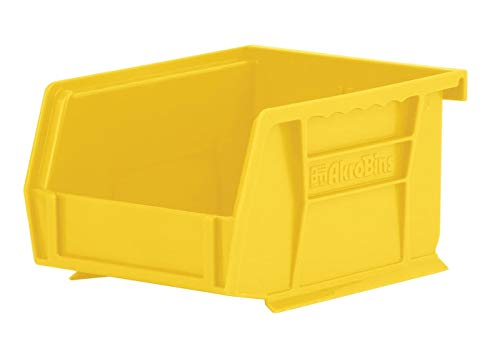 Akro-Mils 30210YEL AkroBins Plastic Storage Bin Hanging Stacking Containers, (5-Inch x 4-Inch x 3-Inch), Pack of 24, Yellow