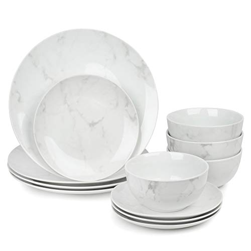 Dawsons Living 12 Piece Dinnerware Set – Ceramic Marble Effect Kitchen Set - 4 Bowls 4 Side-Plates and 4 Plates - Marble