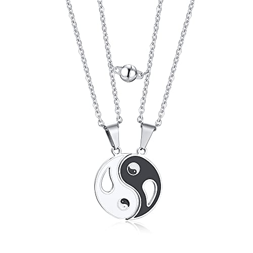 MEALGUET Stainless Steel Mutual Attraction Yin yang Necklace BFF Couple Matching Puzzle White Black Yin and Yang Best Friend Necklaces Gifts for Girlfriend Valentines Birthday