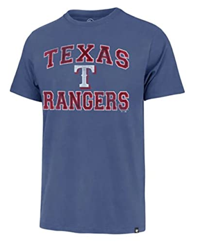 MLB Men's Union Arch Franklin Team Color Primary Logo Word Mark T-Shirt (Texas Rangers Blue, X-Large)