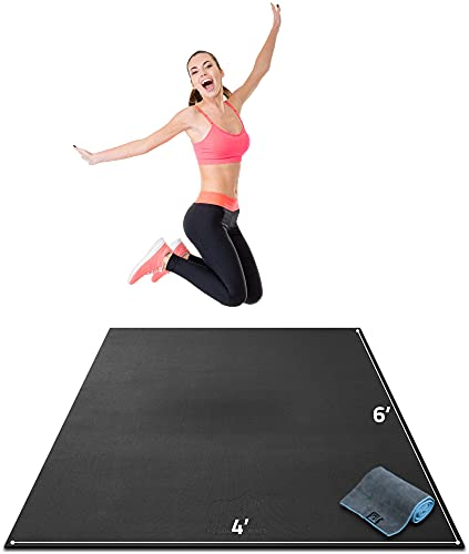 """Premium Large Exercise Mat - 6' x 4' x 1/4"""" Ultra Durable, Non-Slip, Workout Mats for Home Gym Flooring - Plyo, Jump, Cardio, MMA Mats - Use with or Without Shoes (72"""" Long x 48"""" Wide x 6mm Thick)"""