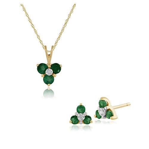 Gemondo 9ct Oro Giallo Smeraldo E Diamante Floreale Orecchini A Lobo A Grappolo & 45cm Collana Set