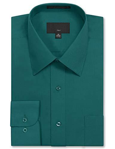 Allsense Men's Long Sleeve Regular Fit Solid Dress Shirt 15-15.5 N : 32-33 S Teal