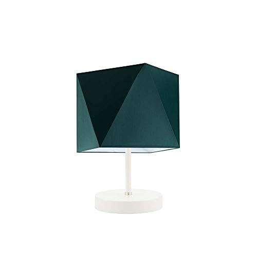 PASADENA - Lámpara de escritorio con pantalla de lámpara, color verde botella, marco blanco
