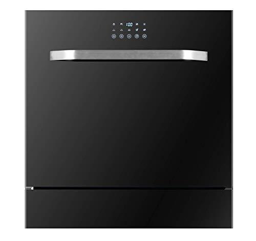 DGHJK Lavavajillas de sobremesa, lavavajillas doméstico automático Integrado, Cinco programas de Lavado, 8 Cubiertos (Negro)