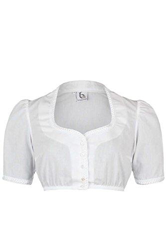Bergweiss Damen Weiße Dirndlbluse mit Froschmaulborte, Weiß, 50