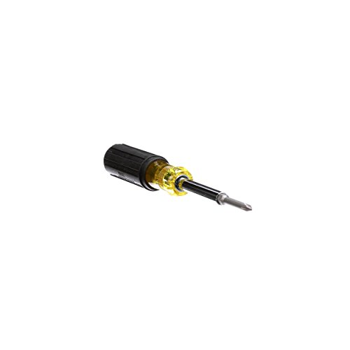 Klein Tools 32559 Multi-bit Screwdriver / Nut Driver, Extended Reach 6-in-1 Tool with Nut Driver, Phillips and Slotted Bits