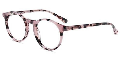 Firmoo Blaulichtfilter Brille ohne Sehstärke Entspiegelt für Damen, Anti Blaulicht PC Brille UV Schutzbrille, Nerd Computerbrille für Bildschirme, Runde Acetate Brille mit Federschanier-Pink Muster