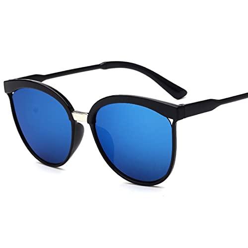 FDNFG Gafas de Sol de Ojo de Gato Negro Mujeres Retro Cateyes Gafas Marco Femenino Oval Eyewear UV400 Ojo Glasses Gafas de Sol (Lenses Color : Blue)