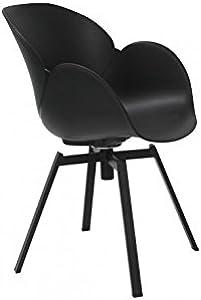 la chaise longue–Set di 4sedie Design Nero e Metallo Cocoon
