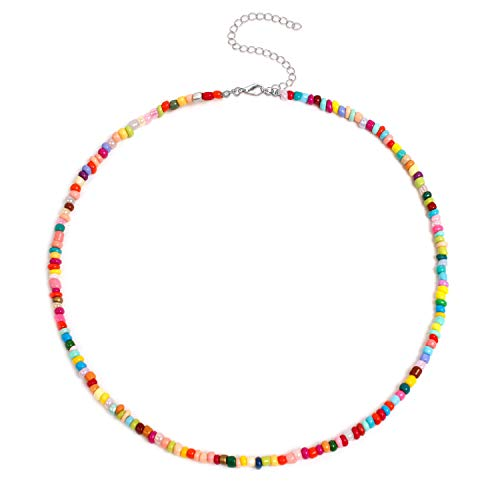 Handmade colored beaded smiley necklaces, ladies fashion necklaces -Color bead