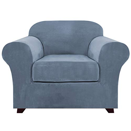 Real Velvet Stretch Chair Covers 2 Piece Armchair Cover Slipcovers - Include Base Cover and Cushion Cover - Sofa Covers Couch Covers 1 Seater Chair Slip Cover, Feature Thick Soft Velour, Stone Blue