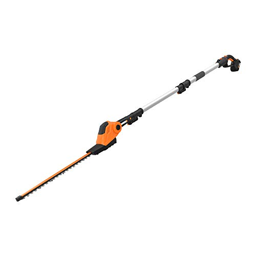 WORX WG252 20V Power Share Pole Hedge Trimmer 20', Battery and Charger Included,Black and Orange