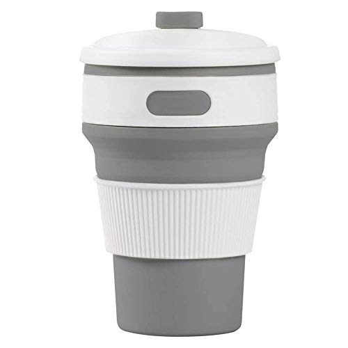 AJH Collapsible Coffee Cup, Portable Coffee Cup Silicone Travel Mug, Sport Bottle With Lid, Suitable For Camping Outdoor Office/350ml