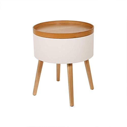 THE HOME DECO FACTORY Table D'Appoint Coffre Rond Blanc, Bois-MDF, 38 x 49 x 38 cm