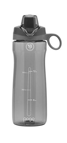 Pogo BPA-Free Plastic Water Bottle with Chug Lid, Grey, 18 oz.