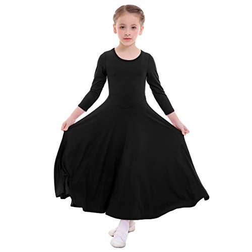 Vestido Litúrgico de Niña Manga Larga O-Cuello Color Sólido Oscilación Plisado Largo Maxi Alabanza Vestidos Iglesia Traje de Adoración Ballet Flamenco Danza Túnico Fiesta Casual Negro 5-6 Años