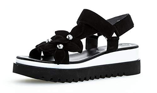 Gabor 23.611 Damen Sandalen,Keilsandalen, Frauen,Keilabsatz-Sandaletten,Keilsandaletten,Sommerschuh,flach,Best Fitting,schwarz,6.5 UK