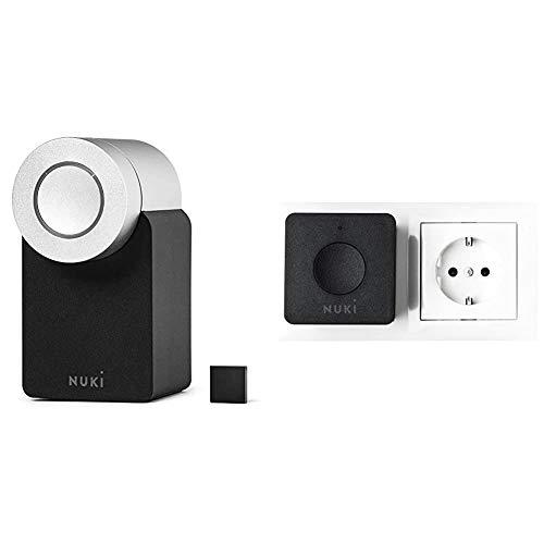 Nuki Smart Lock 2.0 | Elektronisches Türschloss | Sperren via Bluetooth | einfach nachrüstbar & 20116 WLAN Bridge | Erweiterung Lock | Apple HomeKit, Amazon Alexa, Google, IFTTT | 1 W, 170 V, Schwarz