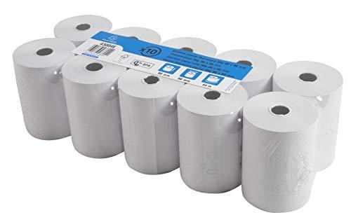 Exacompta 43804E Packung mit 10 Rollen 1-lagig thermisch (hohe Auflösung für Kassen, 55g, Breite: 80mm, Duchmesser: 60mm, Länge: 44m) 1 Pack, Weiß
