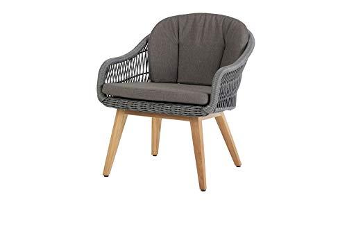 Diamond Garden Nashville Stuhl, grau, Alu/Polyrattan/Teak, 59x66x87 cm, mit Sitz- und Rückenkissen
