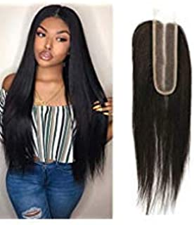 brazilian straight hair middle part 2x6 lace closure 130% pre plucked lace front brazilian remy hair unprocessed sew in hair weave Wet And Wavy Virgin Brazilian Hair With Closure 1b(10 closure)