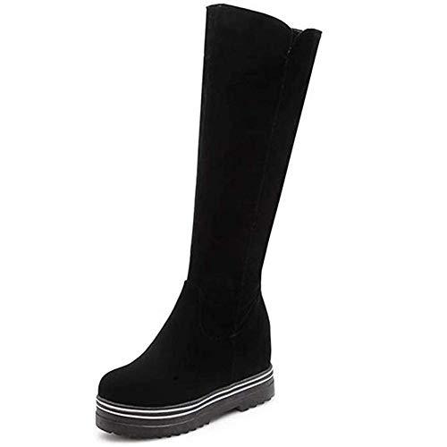 Frauen Kniehohe Stiefel Herde Weiche Dicke Plattform Versteckte Höhe Keile Reißverschluss Schwarz Lange Stiefel Einfache Tägliche Beiläufige Warme Plüsch Winterstiefel (Color : Black, Size : 5UK)