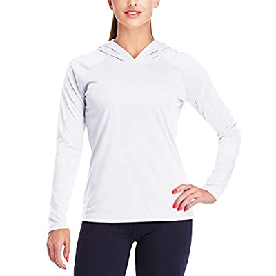 Dayoung Womens UPF 50+ UV Sun Protection Running Hiking Outdoors Performance Long Sleeve Hoody T-Shirt YWT10 White M