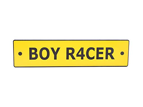 OriginDesigned Boy Racer Novelty Scooter License Plate Sign Yellow Acrylic - Perfect