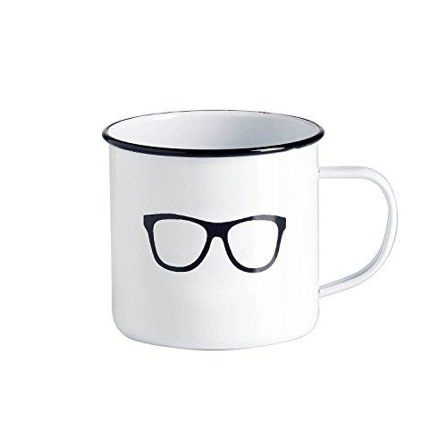 Emaille-Tasse / Kaffeebecher / Tasse weiß - Motiv Retro-Brille / Vintage-Tasse groß / robust – 500 ml / für Picknick Outdoor Camping Retro-Küche / Becher emailliert