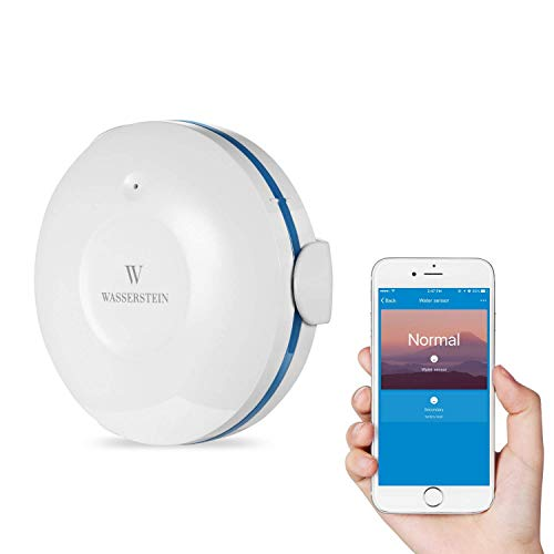 Wasserstein WiFi Water Leak Sensor - Smart Flood Detector (1-Pack, White)
