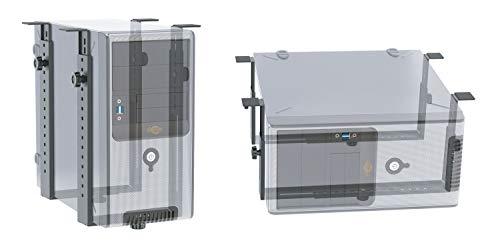 RICOO TRH-02, Rechner-Halterung, Schreib-Tisch, Untertisch-Montage, PC Computer Gehäuse-Halter, Stehend Liegend, Unter-Tischhalterung, Schwarz