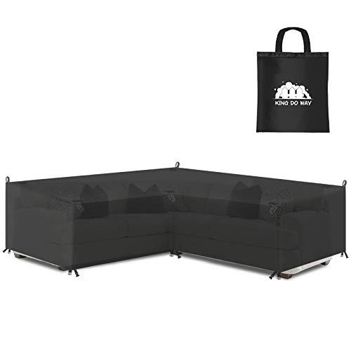 king do way Fundas para muebles de jardín, fundas de sofá esquinero en forma de V, 600D Oxford impermeable al aire libre Windprood anti UV, resistentes fundas de 270 x 270 x 90 cm