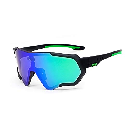 TOPTETN Polarized Sports Sunglasses for Men Women, Bike Glasses Bicycle Sunglasses for Driving Cycling Running Fishing Golf Outdoor Eyewear (Black Green)