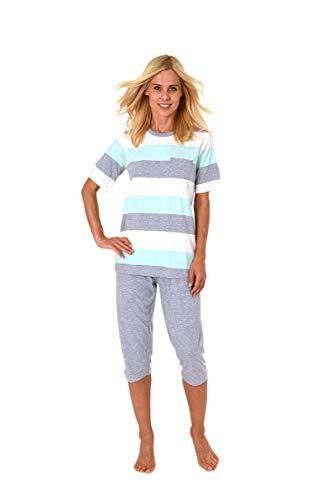 Normann Germany Damen Capri-Pyjama mit Rundhals, Kurzarm, Ringel, Uni Hose, Türkis/Grau, 62971, Gr. L 44/46
