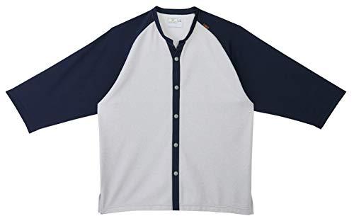 キラク 前開きシャツ CR800-88(ネイビーXシルバー LL トンボ
