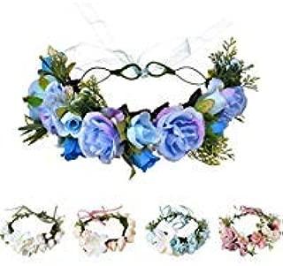 Handmade Adjustable Flower Wreath Headband Halo Floral Crown Garland Headpiece Wedding Festival Party (H-(Blue))