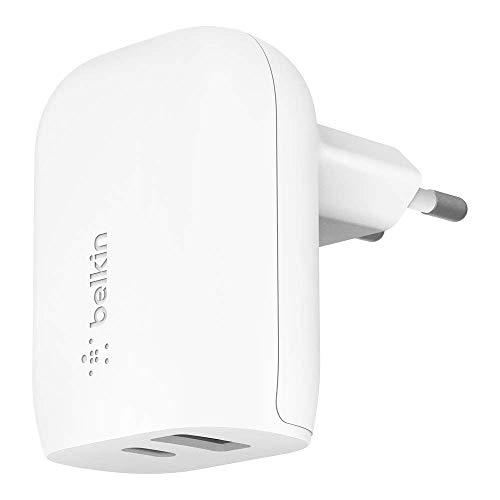 Belkin Cargador de Pared USB-C de 32 W (Cargador rápido para iPhone 12, 12 Pro, 12 Pro MAX, 12 Mini, 11, 11 Pro/Pro MAX, XS, XS MAX, XR, X, SE, 8, 8 Plus, iPad Air 2020, iPad de 8.ª generación)