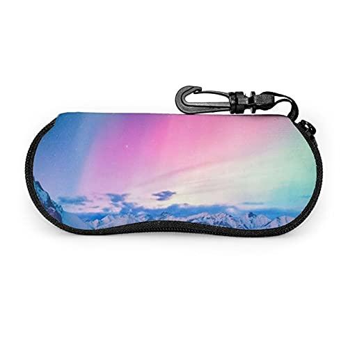 Estuche de gafas con cremallera Aurora Meteor House Nieve Anti-Scratch Portátil Viaje Suave Horizontal Espectáculo Caso para Hombres y Mujeres