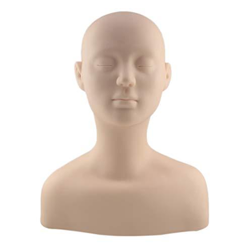 Iycorish Mannequin en PVC avec éPaule pour le Maquillage Extension de Cils Massage Formation Stand Perruque Chapeau PréSentoir