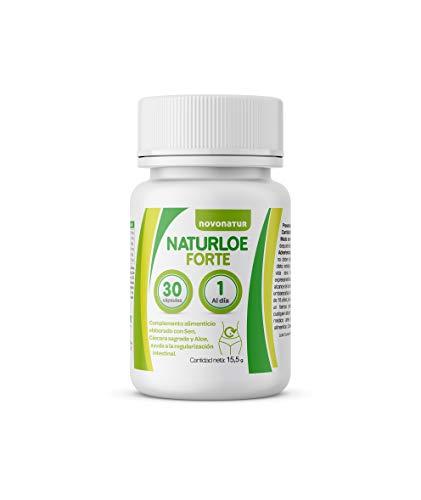 NATURLOE FORTE, regularidad intestinal con Aloe vera, Cáscara sagrada y Sen, ayuda a una buena digestión y a perder peso de manera natural, estómago deshinchado. NOVONATUR